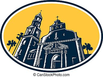 Cathedral Basilica of St. Augustine Woodcut Retro -...