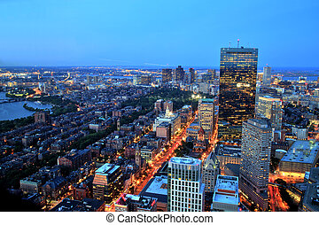 Boston, vista, aéreo, anoitecer