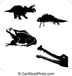 silhouette   - gavial,newt,toad,triceratops