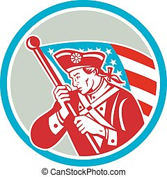 American Patriot Soldier Waving Flag Circle - Illustration...