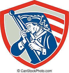 American Patriot Soldier Waving Flag Shield - Illustration...