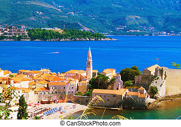 Montenegro - Sea view to the Old Town of Budva in Montenegro
