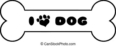 Dog Bone With Text And Love Paw Print Illustration Isolated...