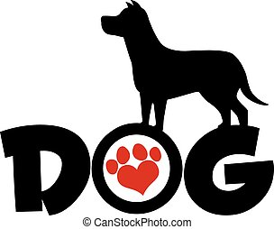 Dog Black Silhouette Over Text