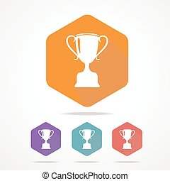 Vector prize Trophy cup flat icon long shadow - Vector prize...