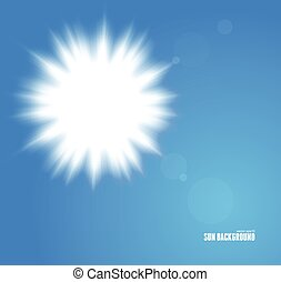 Sun with lens flare, vector background blue