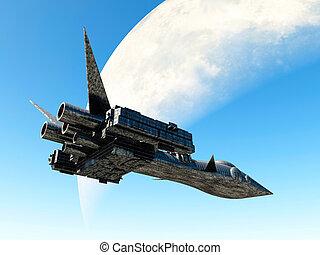 Aerospace vehicle - ufo, art, town, ship, moon, wall, roof,...