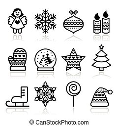 Christmas icons with stroke - Xmas - Vector black icons set...
