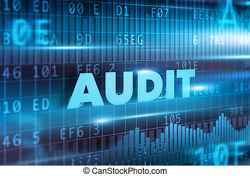 Audit concept with blue background blue text