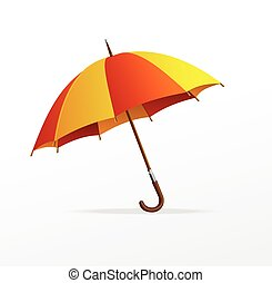 Vector red and yellow umbrella isolated on white