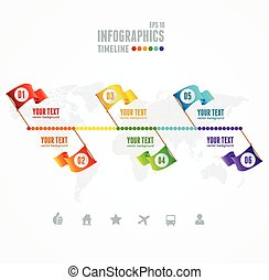Vector Timeline Infographic. Map and flag pin elements