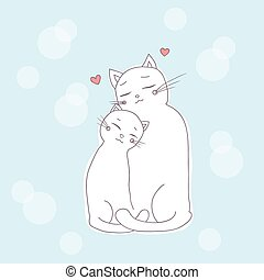 cats - two lovely cat, cuddling. vector illustration