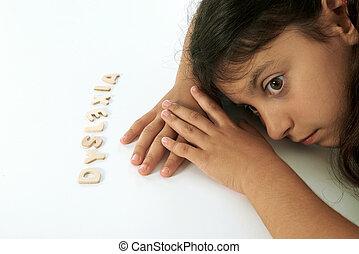 dyslexic, niña, Piensa, Dum