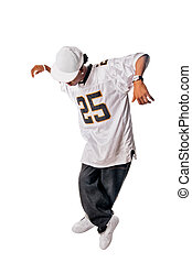 Young hip-hop dancer on white - Cool young hip-hop dancer...