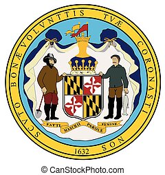 Maryland State Seal - The seal of the state of Mayland over...