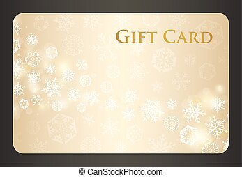 Exclusive cream christmas gift card with stream of golden...