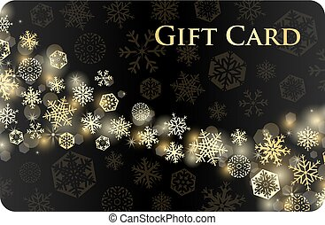Exclusive black christmas gift card with stream of golden...
