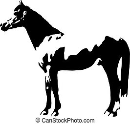 shadow of a standing horse - black and white vector outline...