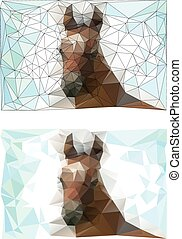 origami style of horse foal - Vector silhouette of an...