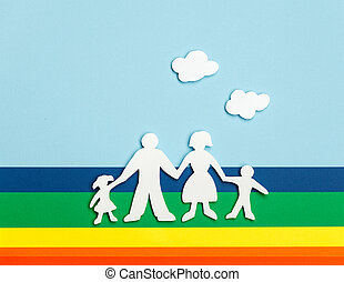 Happy family holding hands - Close up of happy family of...