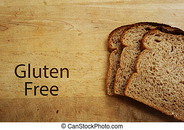 Gluten free - Slices of bread and Gluten Free text on a...