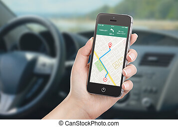 Smart phone with map gps navigation application on the...