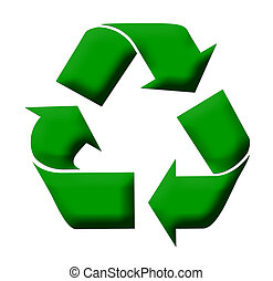 Recycling symbol - Green recycling symbol isolated on white...
