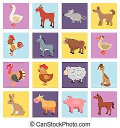 Farm animals set - Farm animals livestock and pets icons set...