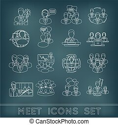 Meeting outline icons set - Business meeting outline icons...