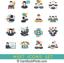 Meeting icons set flat - Business meeting flat icons set of...