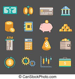 Money finance icons - Bank service money icons set with...
