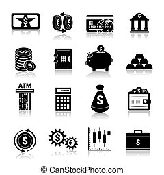 Money finance icons black - Bank service money black icons...