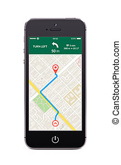 Front view of black smart phone with map gps navigation app...