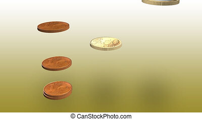 3d Coins falling - 3d Euro coins falling on top of each...