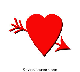 Cupid arrow and love heart - Red love heart pierced by...