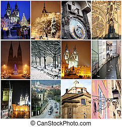 Collage of landmarks in Prague