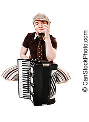 Cool musician with concertina - Cool young musician with...