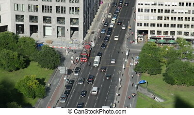 car traffic Potsdamer Platz Berlin - car multi lane traffic...