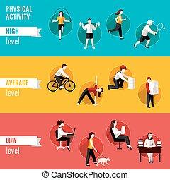 físico, actividad, horizontal, banderas