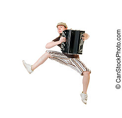 Cool musician jumping high - Cool young musician with...