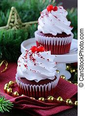 festive red velvet cupcakes Christmas table setting