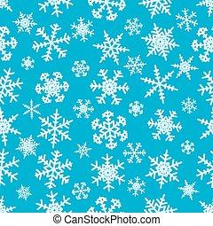Snowflakes on blue background seamless pattern - Snowflakes...