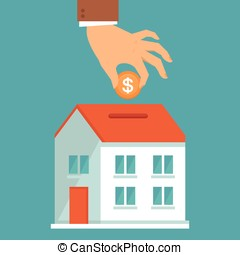 Vector investment concept in flat style - businessman's hand...