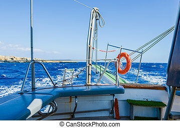 gangway of the ship Sea - lifebuoy hanging on a raised...