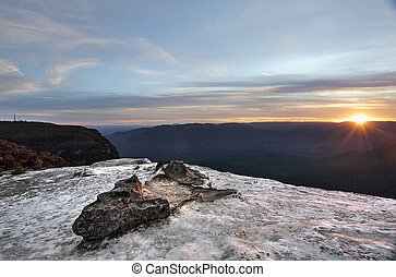 Sunset Wentworth Falls Blue Mountains Australia - Beautiful...