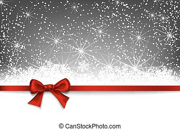 Christmas card. Red bow on silver winter background with...