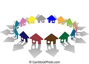Colorful ring of brightly colored house symbols on white - A...