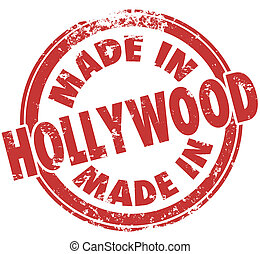 Made in Hollywood California Round Red Stamp Pride - Made in...