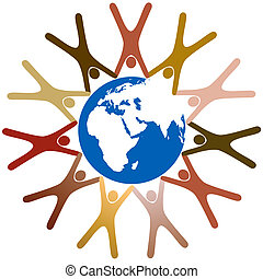 Diverse symbol people hold hands in ring around planet earth...
