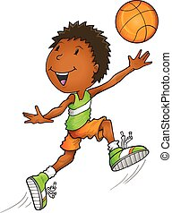 Afro American Basketball Player Vector Illustration Art